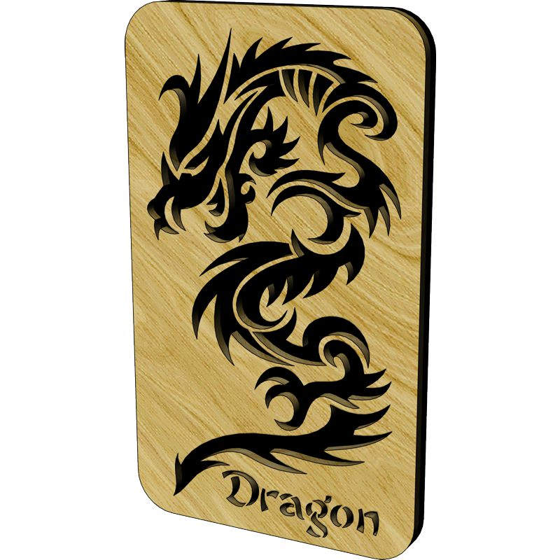 Dragon Large Laser Cut Wooden Plaque Laserply