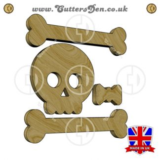 Cute Skull and Crossbones with Bow Four Piece Embellishment