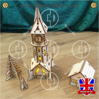 Clocktower Tealight With Frosted Treas And Cottage Photo